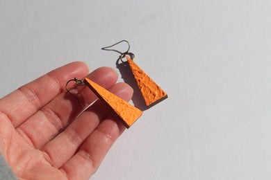 Wood Triangle Earrings (Pumpkin)