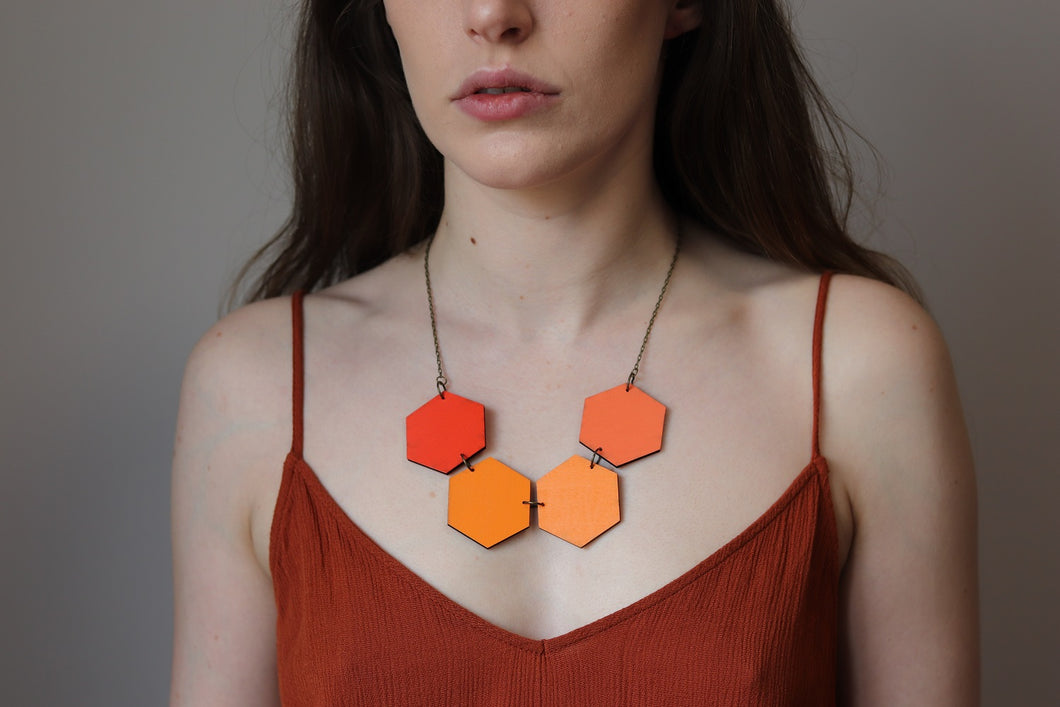 Orange Shades Wood Hexagon Necklaces