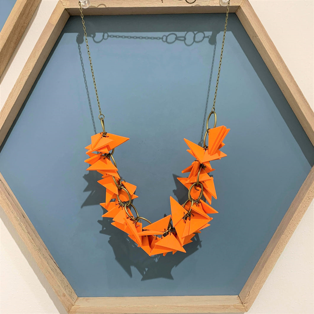 Orange Triangles Necklace