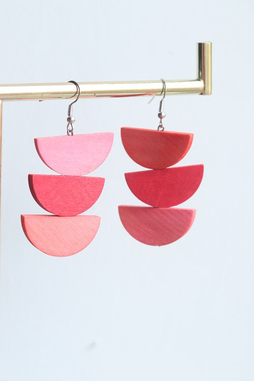 Pink & Red Semi Circle Earrings