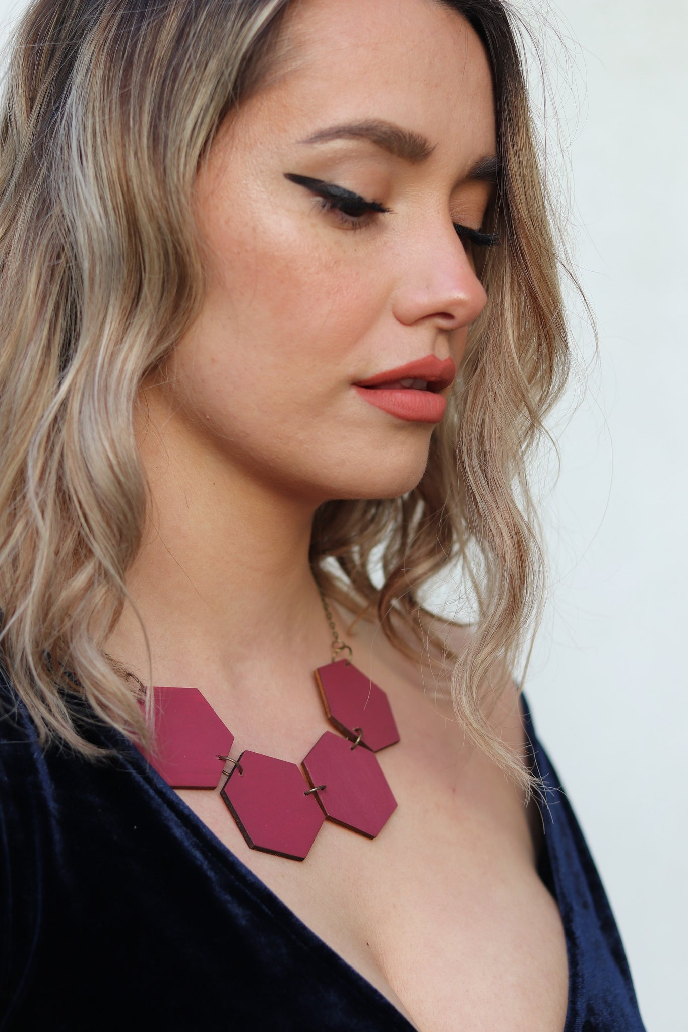 Plum Wood Hexagon Necklaces
