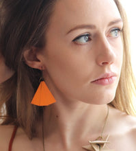 Pumpkin Wood Fan earrings