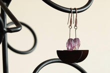 Natural Amethyst Purple Stone Geometric Earrings