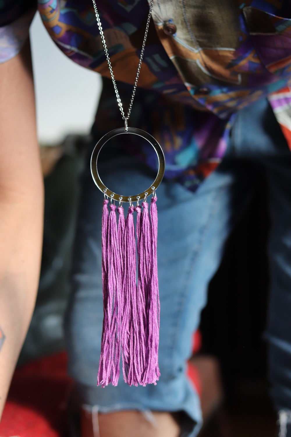 Long tassel Silver and Purple