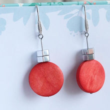 Drop Earrings Red and Silver