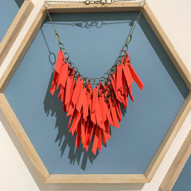 Red V Shaped Statement Light Weight Necklace