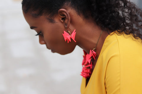 Red Short Extremely Light Earrings
