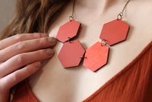 Rose Dust Dark Orange Shades Wood Hexagon Necklaces