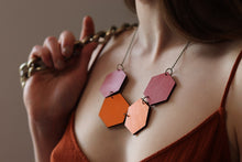 Rose Dust Orange Shades Wood Hexagon Necklace Reversible