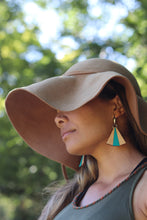 Turquoise Wood Fan earrings