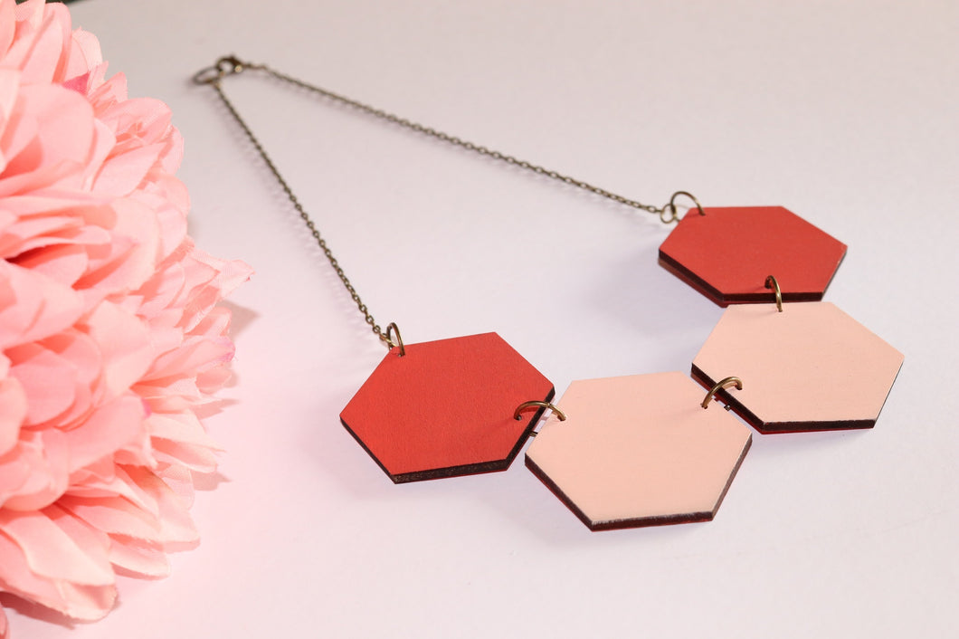 Pink Shades Wood Hexagon Necklaces
