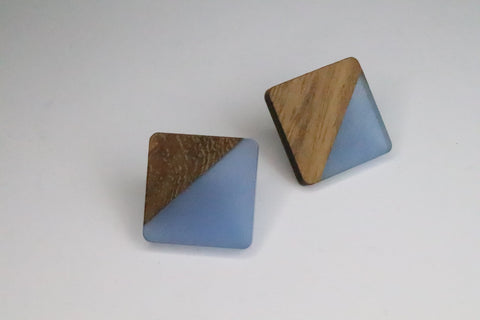 Blue Wood and Resin Studs