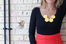 Big Hexagon Statement Necklace Yellow (Reversible)
