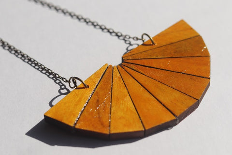 Wooden Necklace Yellow