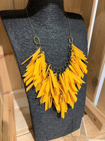 Yellow V Shaped Statement Light Weight Necklace