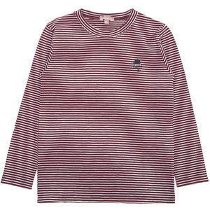 Burgundy Striped Long Sleeve Tee