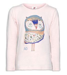 Slub C-neck Owl Sequins