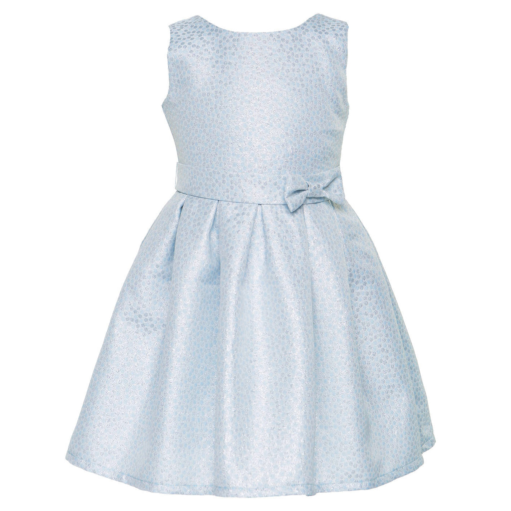 Blue Silver Jacquard Party Dress