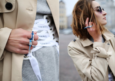 fashion blogger's ootd with chanel belt and Mellow by Melita rus rings