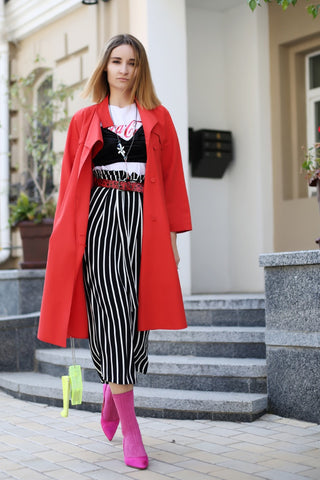 fashion blogger wears Mellow jewelry and red coat