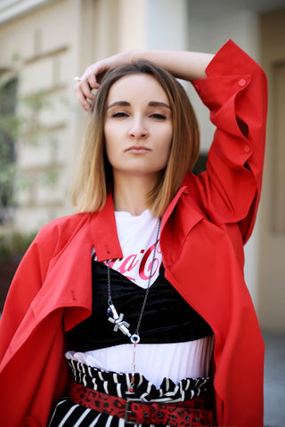 fashion blogger and her outfit of the day with Mellow by Melita Rus jewellery