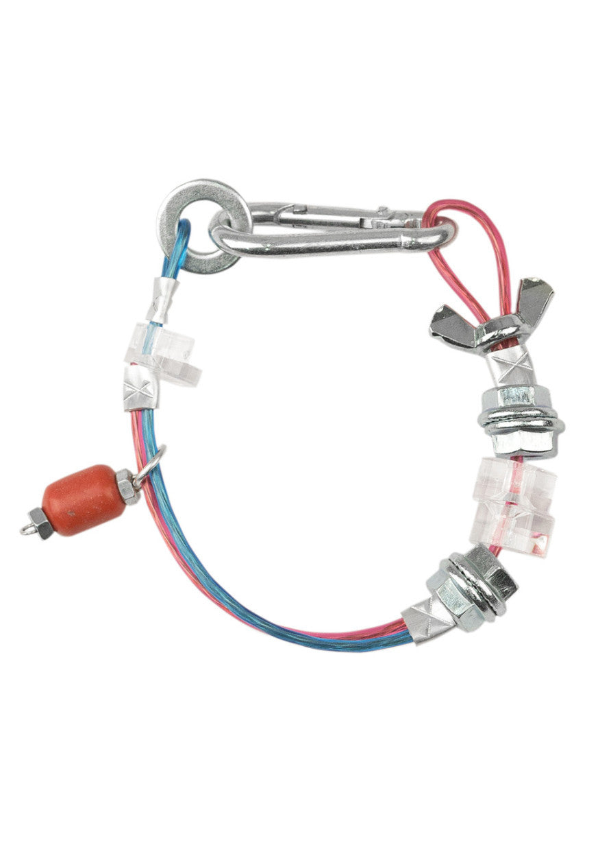 Bracelet with metal plastic details and Coral bead