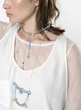 Chocker with metal details, silver chain and Amazonite stone