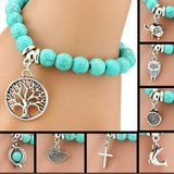 Stunning Turquoise Bohemian Charm Bracelet. Choose your Charm. ** LIMITED STOCK **