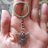Guardian Angel Metal Key Chain. Silver Plated.