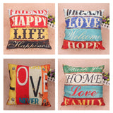 Positive Happy Loving Quotes Cushion Cover. 4 Styles.  Cotton Linen.