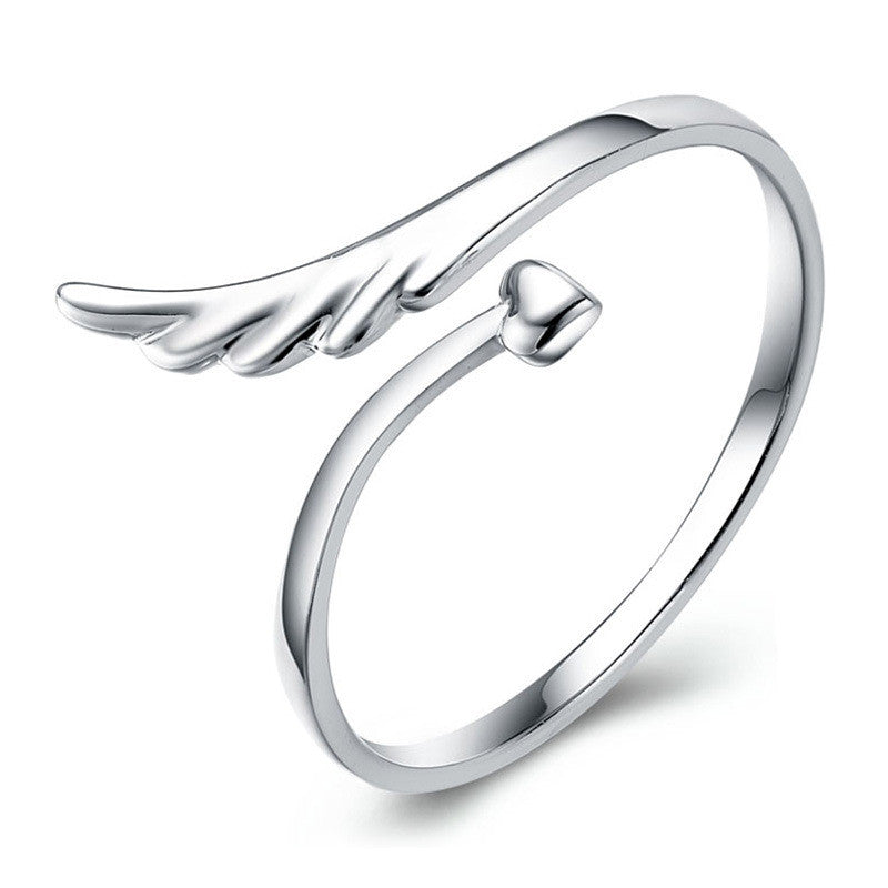 Angel Wings silver plated ring. Adjustable size.