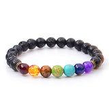 Step closer to Inner Peace with this 7 Chakra Charm Bracelet with Tigers Eye, Amethyst, Black Resin Lava Beads