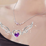 Angel Wings Necklace - Silver Plated Purple Zircon Love Heart