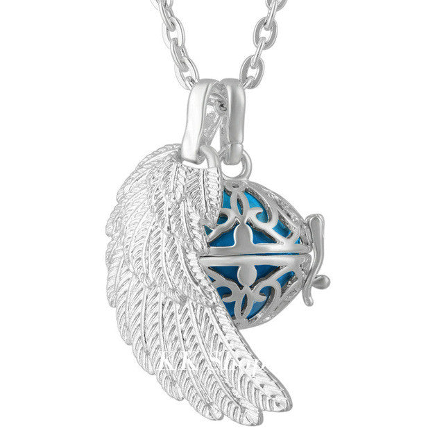Silver Plated Angel Caller Mexican Bola Cage Pendant with Harmony Ball