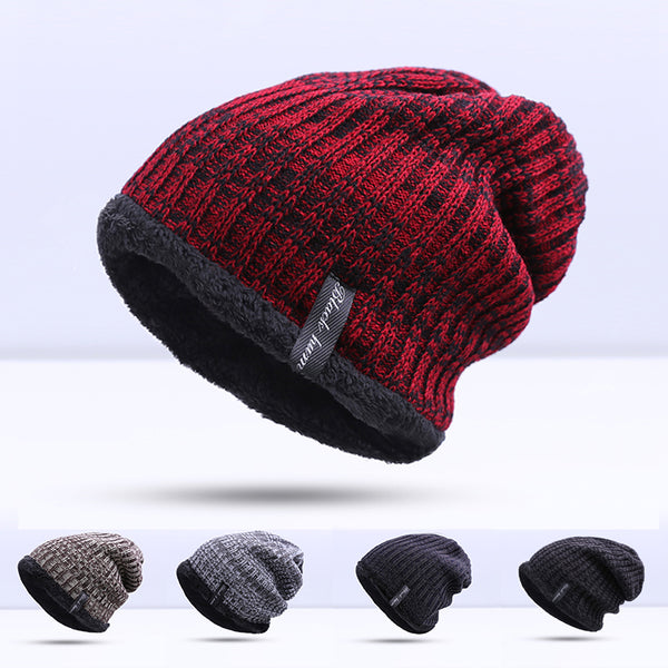 Skullies & BeaniesOnlineUSA Fashion Warm Winter Knitted Beanie Hat For Men -  Blue, Dark Gray,Khaki, Light Gray, Red