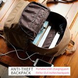 BestOnlineAnti-theft Canvas Backpack With USB Charging For Teens/Travel - Blue Black/Khaki/Gray