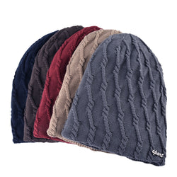 BestOnlineKnitted Striped Skullies & Beanies Winter Hats For Men - Black,Brown,Blue,Gray,Khaki,Red