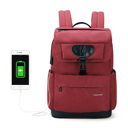 "BestOnlineFashion Men's/Women's Slim 15.6"" Laptop Backpack With USB Charging Port For School/Work/Travel - Black,Red"