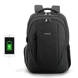 "BestOnlineMen's Anti Theft 15.6"" Laptop Backpack With External USB Port - Black,Grey"