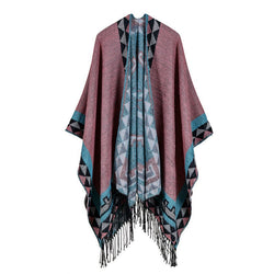 BestOnlineWomen's Rhombus Design Fashion Winter Poncho Scarf with Tassel