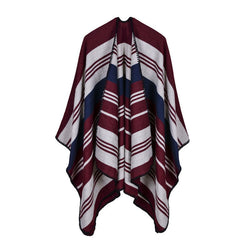 BestBuySale Poncho Scarves Vintage Women's Striped Winter Poncho Scarf - 5 Colors
