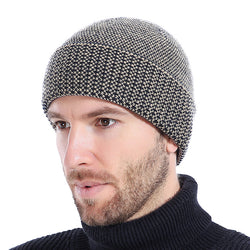 BestOnlineMen's Winter Knitted Beanie Hat With Velvet Inside - Coffee,Wine Red,Black,Gray