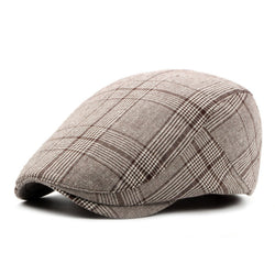 BestBuySale Beret Hat Men's Vintage Retro Plaid Beret Hat - Coffee,Black,Gray