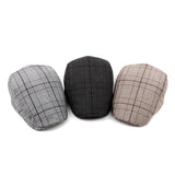 BestOnlineMen's Vintage Retro Plaid Beret Hat - Coffee,Black,Gray