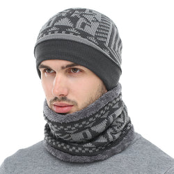 Skullies & BeaniesOnlineUSA Men's Fashion Winter Knitted Beanie With Collar Scarf - Black,Gray,Navy