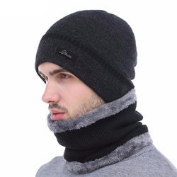 BestOnlineMen's Winter Knitted Beanie + Collar Scarf - Black,Gray,Navy,Red