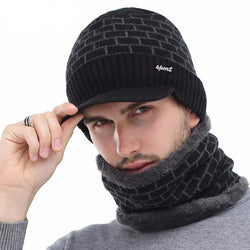 BestOnlineMen's Winter Knitted Cap Beanie + Collar Scarf - Black,Gray,Navy,Red