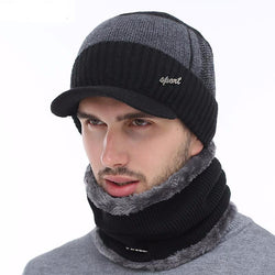 BestOnlineWinter Knitted Beanie Cap With Collar Scarf For Men - Black,Gray,Navy