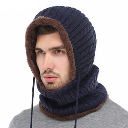 BestOnlineMen's Winter Knitted Scarf Beanie - Black,Gray,Navy,Wine Red,Coffee,Khaki