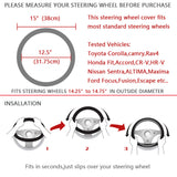 BestOnlineBreathable Black Genuine Leather Car Steering Wheel Cover